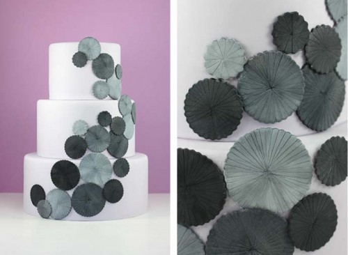 grey and white fondant cake