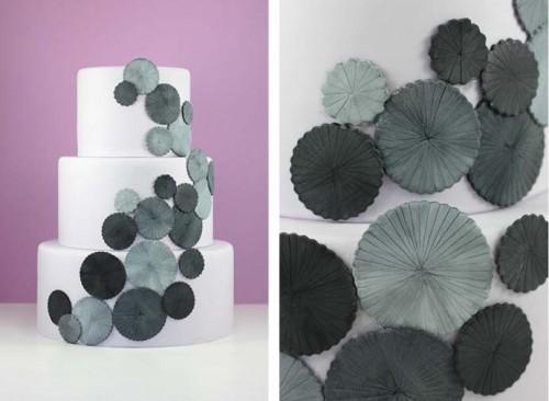 grey and white fondant cake