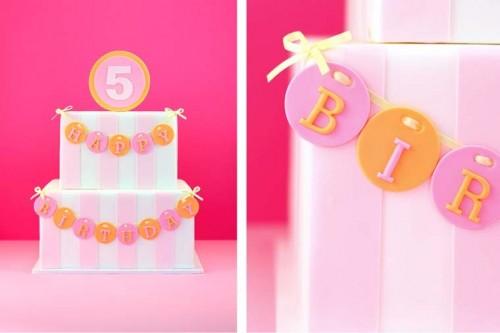 pink and orange stripe wedding cake