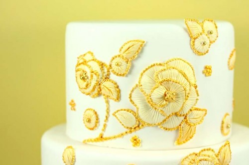 yellow floral wedding cake