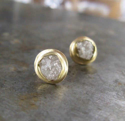 christine mighion rough diamond earrings