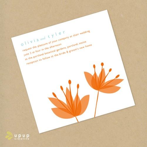 modern orange wedding invitation