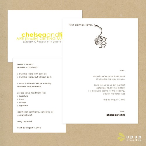 modern yellow and grey wedding invitations