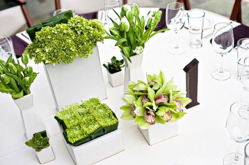 green and white modern centerpiece