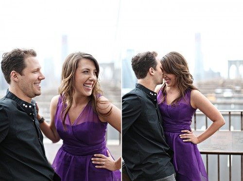 purple dress engagement shoot