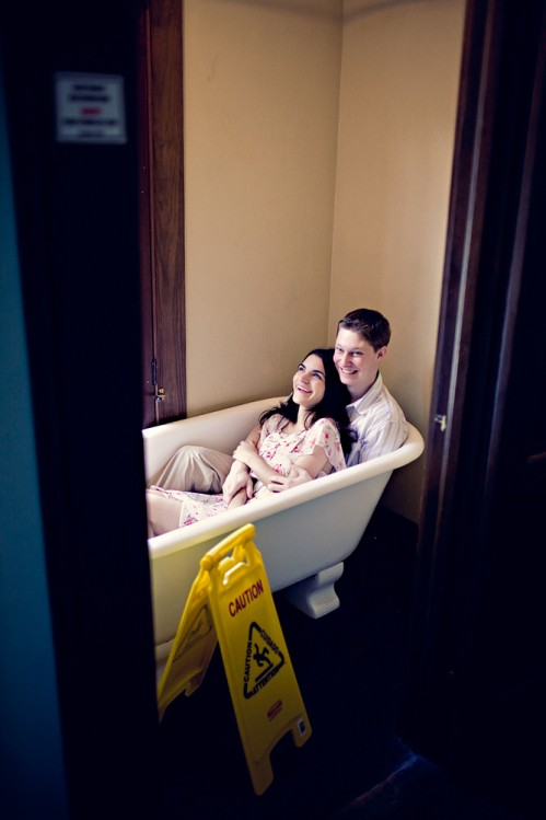 miami engagement shoot in bathtub