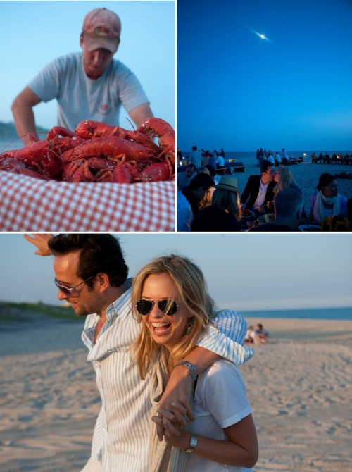 lobster bake rehearsal dinner on beach