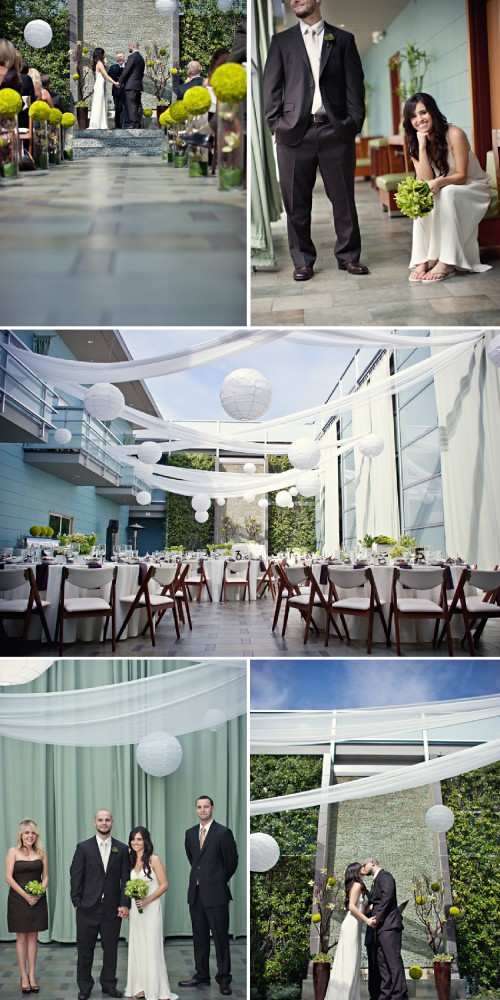 green and white modern wedding