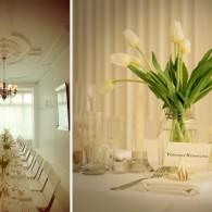 white tulip floral centerpiece