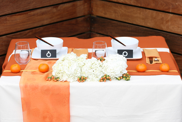 Tablescape challenge: Orange inspired sweetheart table 7
