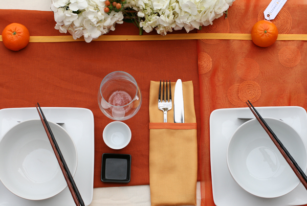 Tablescape challenge: Orange inspired sweetheart table 6