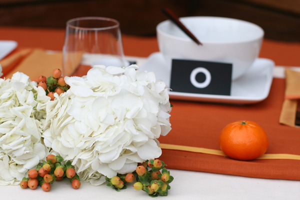 Tablescape challenge: Orange inspired sweetheart table 2