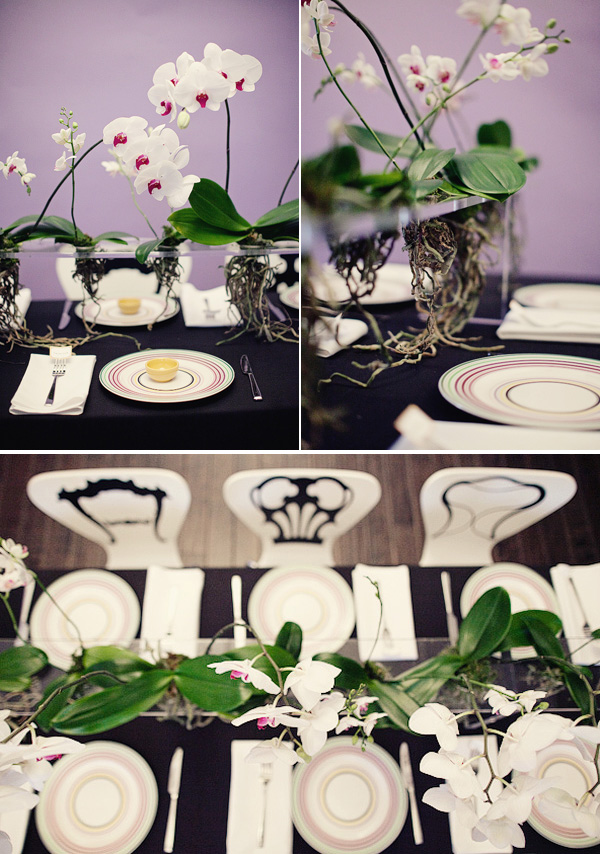 Modern orchid tablescape 2