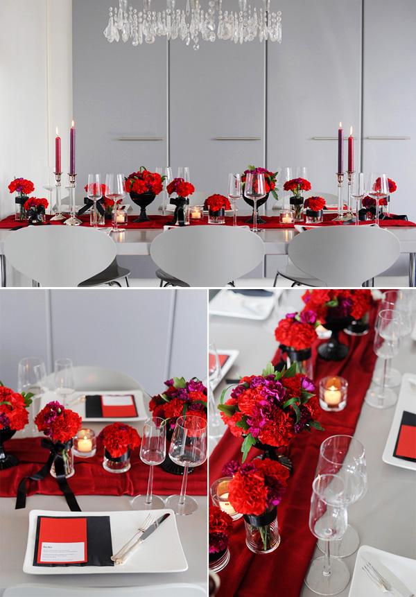 Modern red black tablescape brooklyn bride