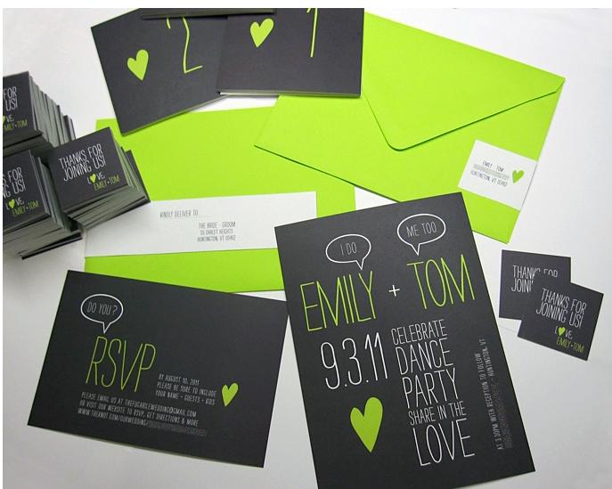 Green and black invitations - Brooklyn Bride - Modern Wedding Blog