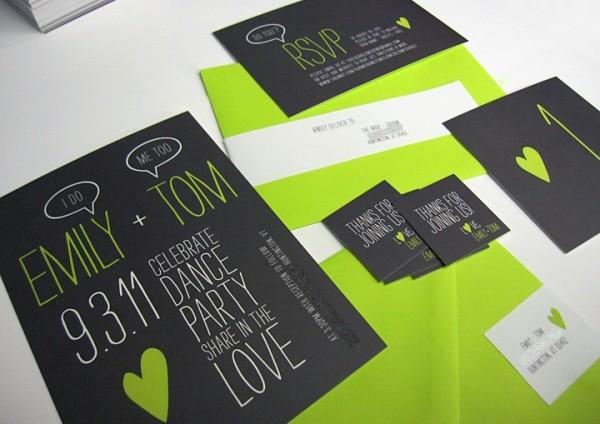 Green and black invitations 1