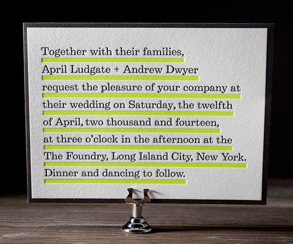neon yellow wedding invitations