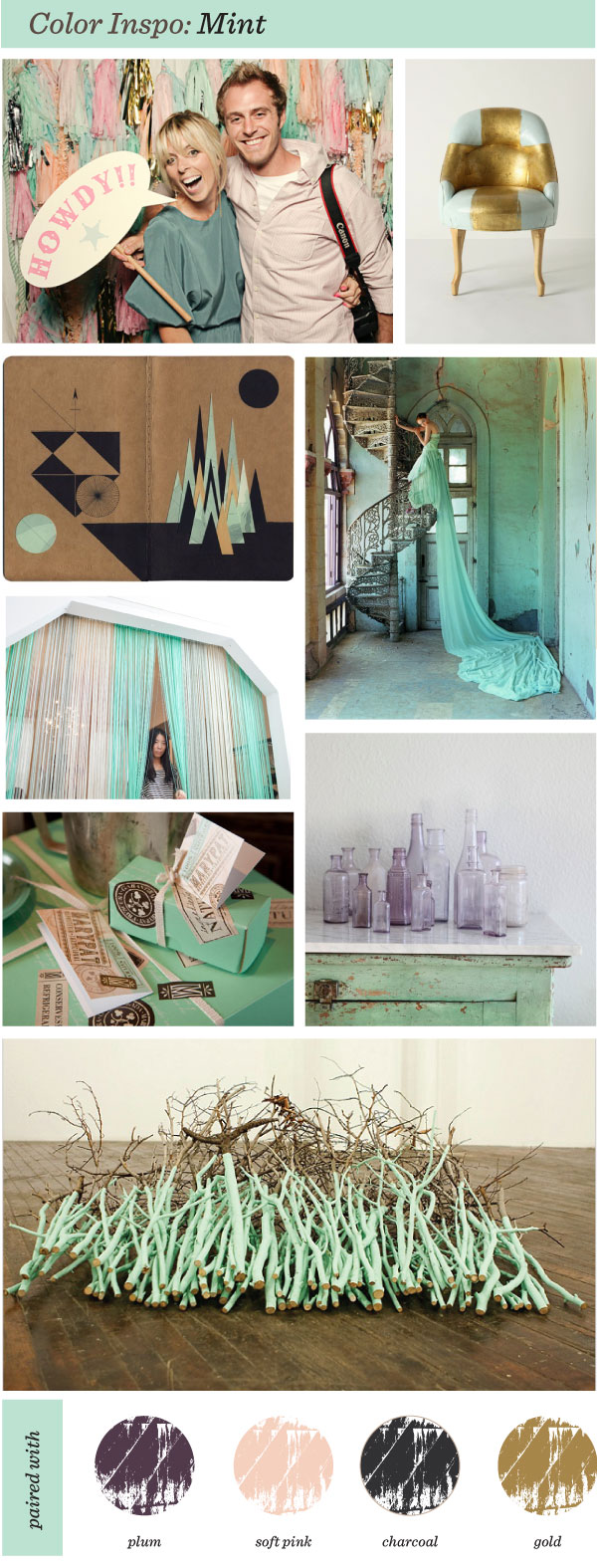 """Color Inspiration"" Charcoal Mint Pink ""Tim Walker"" ""Pearl River"""
