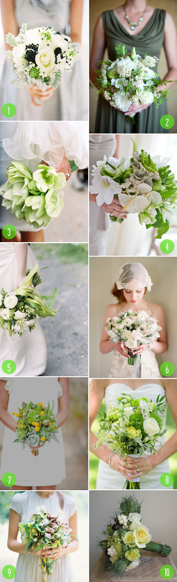 Top 10: Mostly green bouquets 3