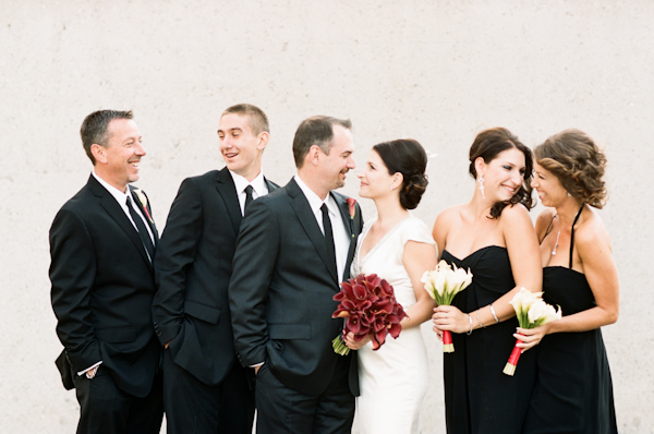 black bridesmaids dresses and groomsmen