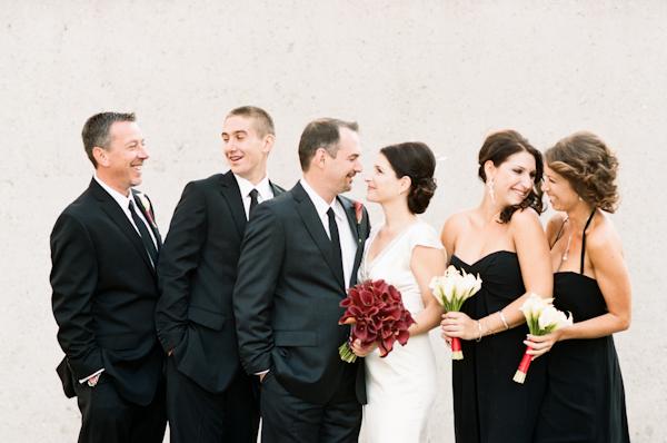 black bridesmaids dresses and groomsmen