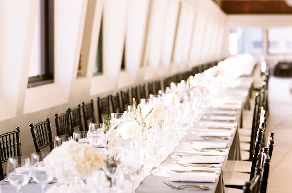 grey and white wedding reception