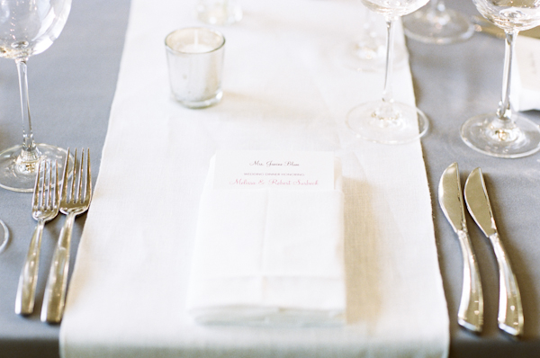 all white table setting for wedding