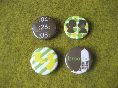 green, white and yellow brooklyn bride wedding buttons