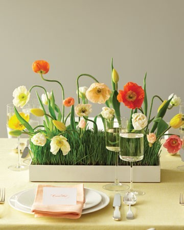 wheatgrass centerpiece with poppies