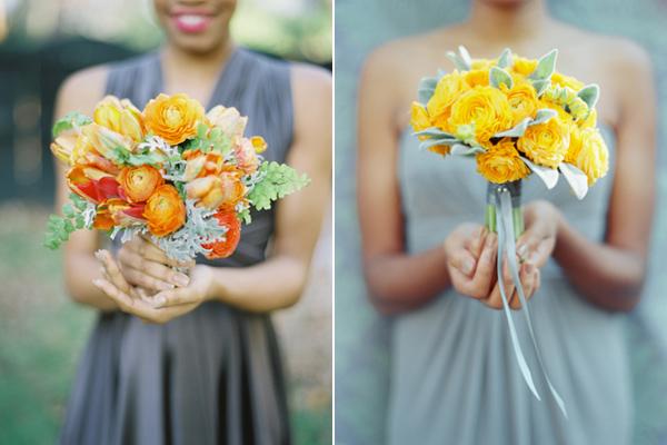 orange and yellow monochromatic bouquets