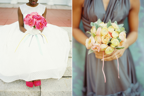 pink and yellow monochromatic bouquets