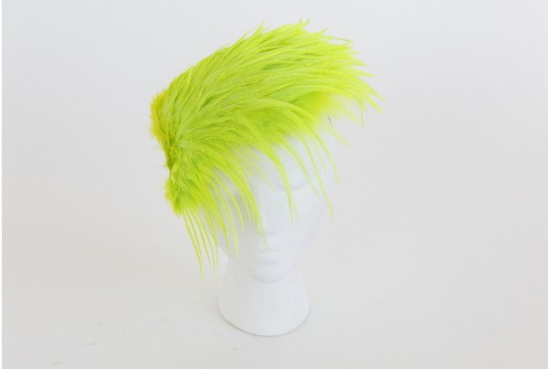 neon green feather headpiece