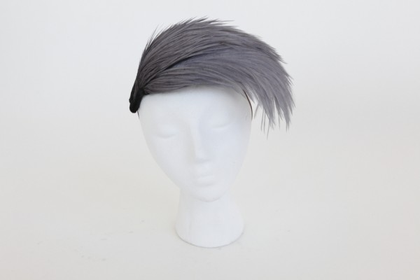grey feather headpiece