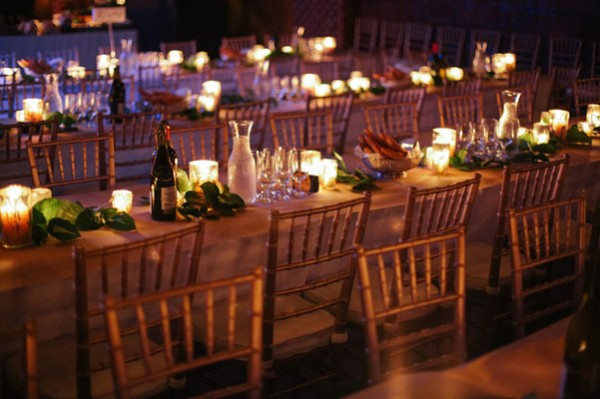 candle and foliage centerpiece