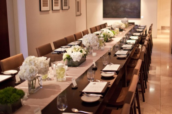 green and white modern wedding reception