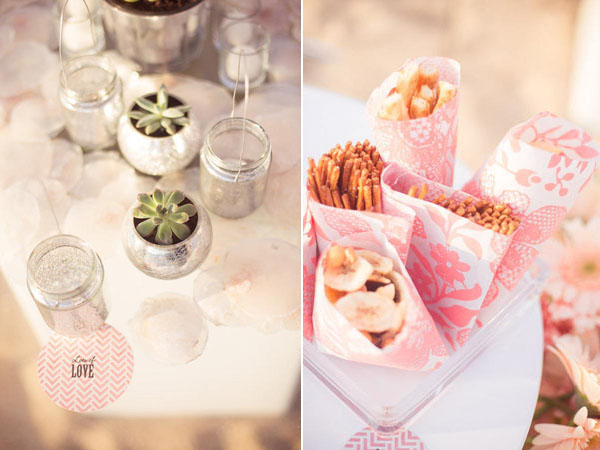 pink favor bags and succulent centerpiece