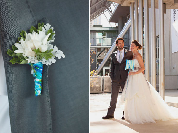 blue and white boutonniere & bridal couple