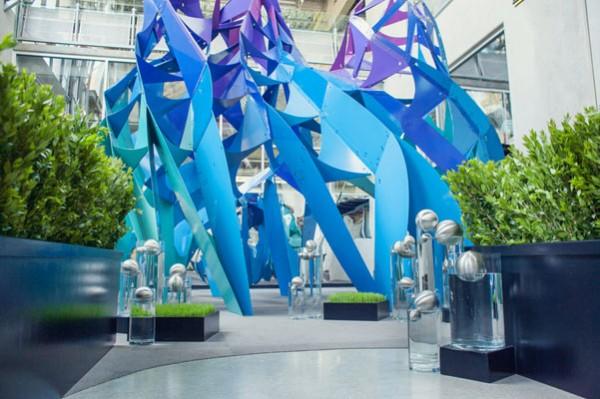 blue modern museum wedding ceremony