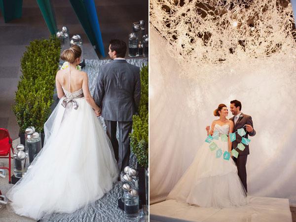 grey & white bridal couple
