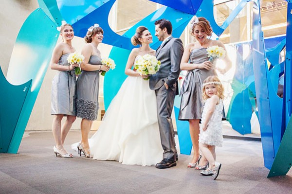 grey & white bridal party