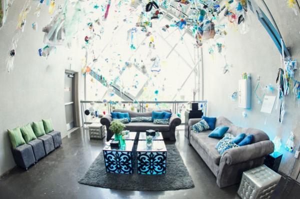 blue & white wedding decor