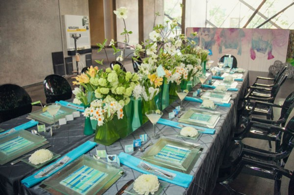 green, white & blue wedding centerpieces