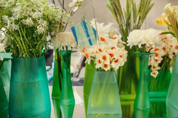 green & white centerpieces