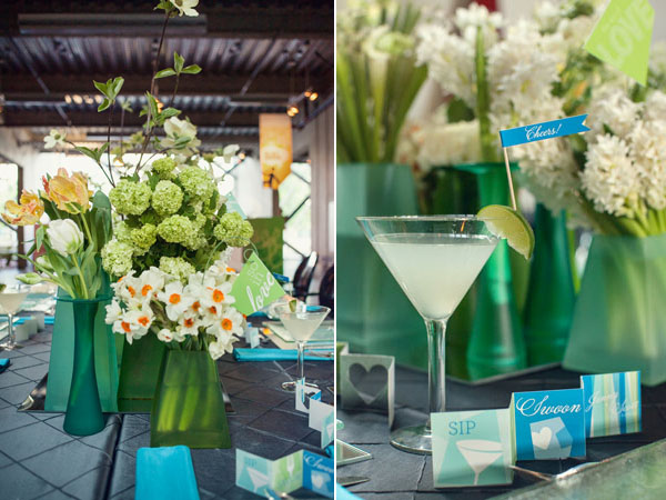 blue and green centerpieces & drinks