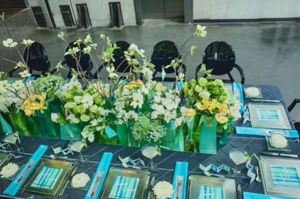 green and blue museum wedding