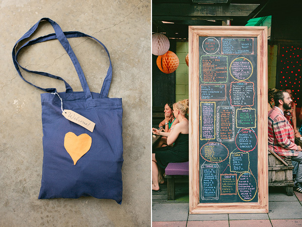 welcome totes and chalkboard seating chart