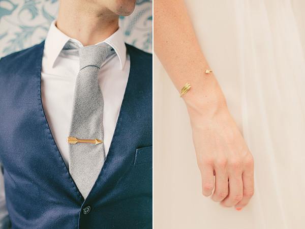 arrow tie clip and bracelet