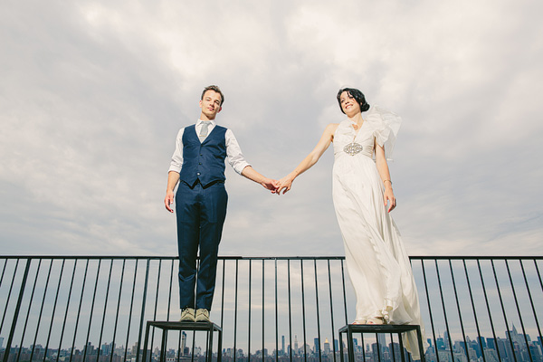 bride and groom at wythe hotel