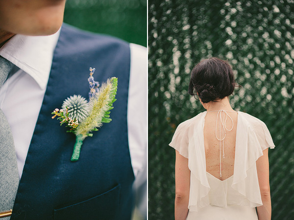 boutonniere & wedding dress back