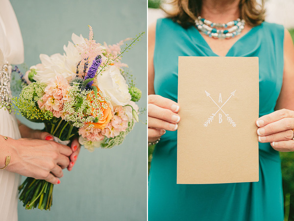 garden inspired bouquet and kraft paper wedding program